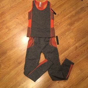 Other - WORKOUT Bright orange & gray two piece long pant